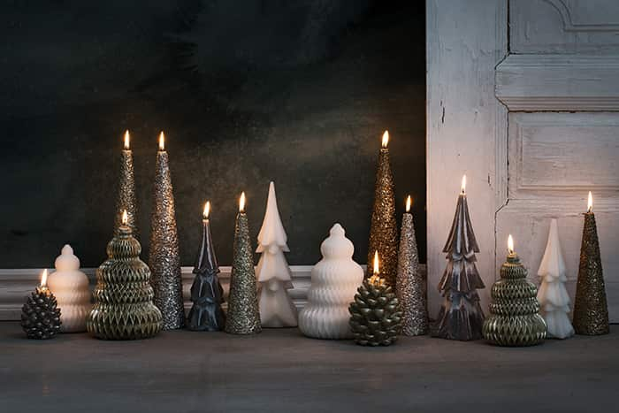 Christmas candles by Lene Bjerre, including taper candles, cone candles, LED candles and scented candles.