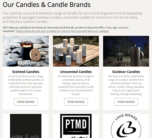 New online shop screenshot of the candle types & candle brands with new sub-categories making it easier to navigate