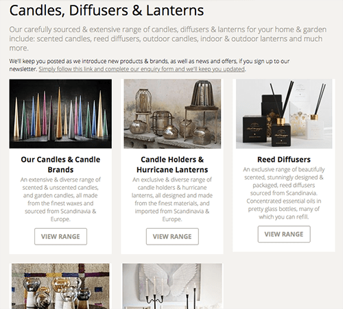New online shop screenshot of the candles, diffusers & lanterns page with new sub-categories making it easier to navigate