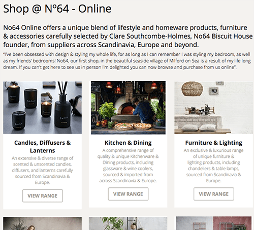New online shop screenshot of the home page with new categories making it easier to navigate