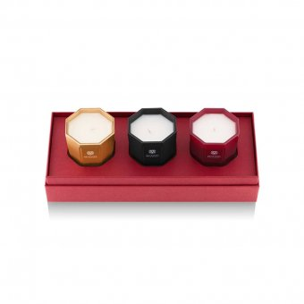 80g Candle Trio Gift Box, scents: Rosso Nobile, Ambra and Melograno, Gift Box