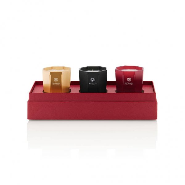 80g Candle Trio Gift Box, contains scents: Rosso Nobile, Ambra and Melograno, in a beautiful Gift Box. From Dr. Vranjes Firenze