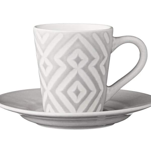 'Abella' Espresso Cup & Saucer, Light Cement Ceramic by Lene Bjerre