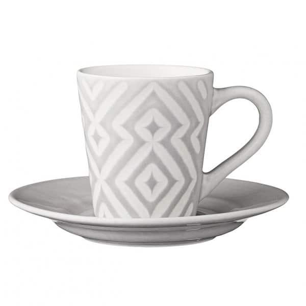 'Abella' Espresso Cup & Saucer, made from Ceramic, presented in Light Grey. By Lene Bjerre of Denmark