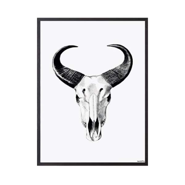 'African Bull' Art Print, mounted in a Black frame, by Vanilla Fly of Denmark