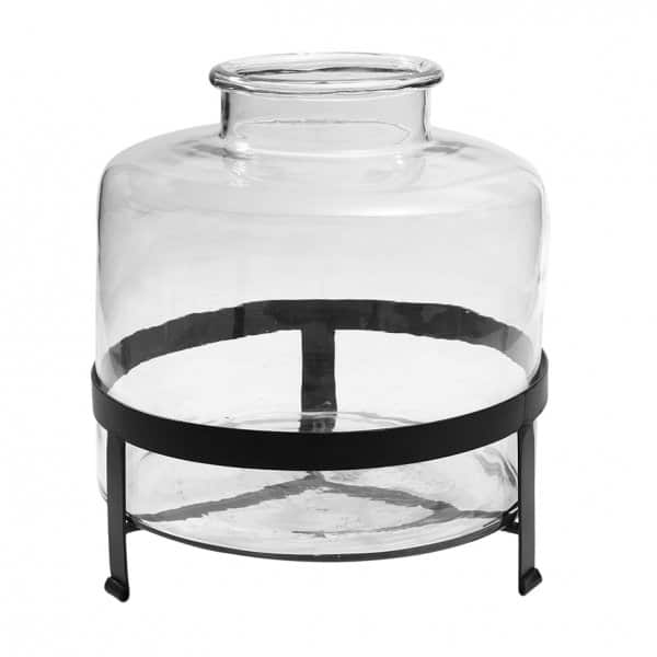 'Aley' Clear Glass Vase, Round, presented on an Iron stand. By PTMD Collection®