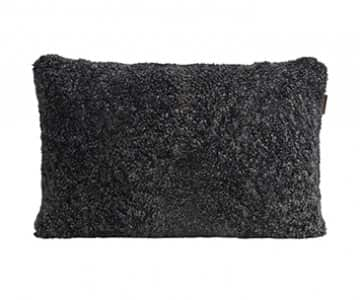 'Alice' - Sheepskin Cushion in Black Graphite. By Shepherd of Sweden