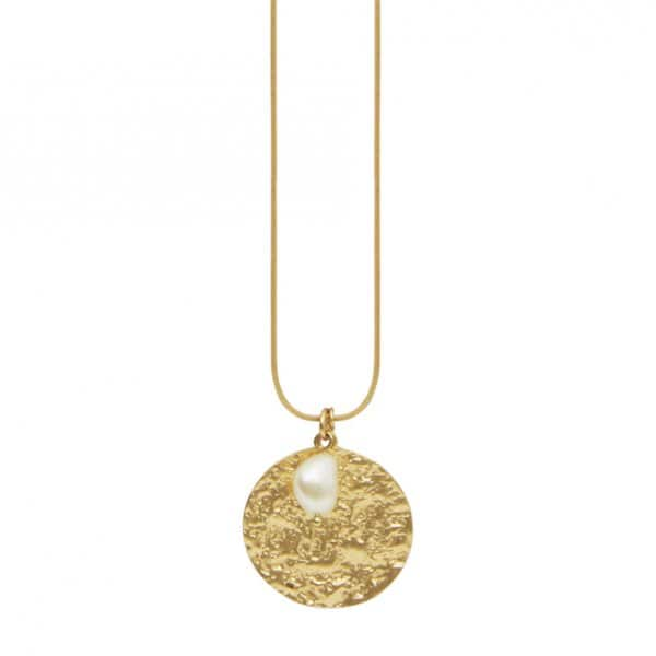 'Amber' adjustable Necklace, in 14 Carat Gold (colour of metal plating), with a Freshwater Pearl. By Dansk Copenhagen.