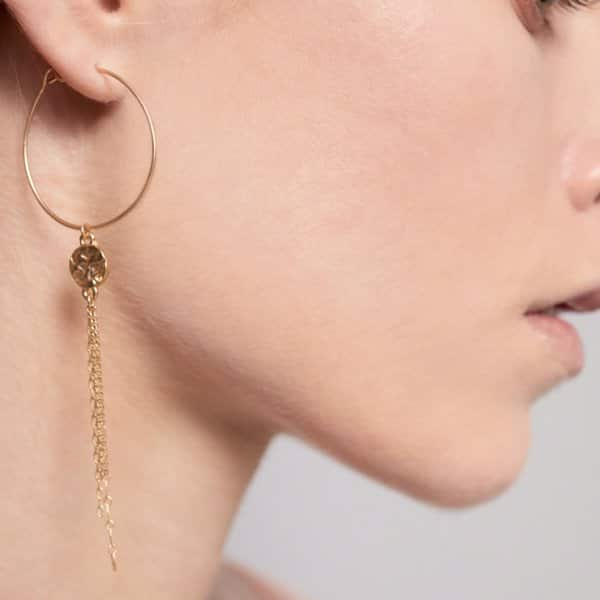 'Amber' Dynamic Earrings, with a Black chain, finished with Hematite plating. By Dansk Copenhagen