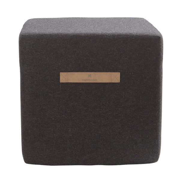 'Anna' - Wool Pouffe, Square, in Black. By Shepherd of Sweden