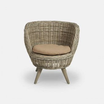 'Antibes' Bucket Chair with Seat Cushion, Wicker / Rattan, Natural (82cm x 77cm x 70cm)
