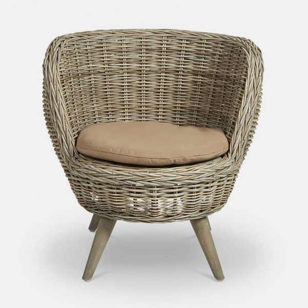 Antibes Bucket Chair with Cushion, made from Indonesian Wood, and presented in Natural (colour). The Vintage Garden Room