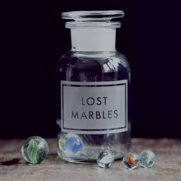 Apothecary Jar etched with 'Lost Marbles', with air-tight seal, comes with Marbles! By Vinegar & Brown Paper