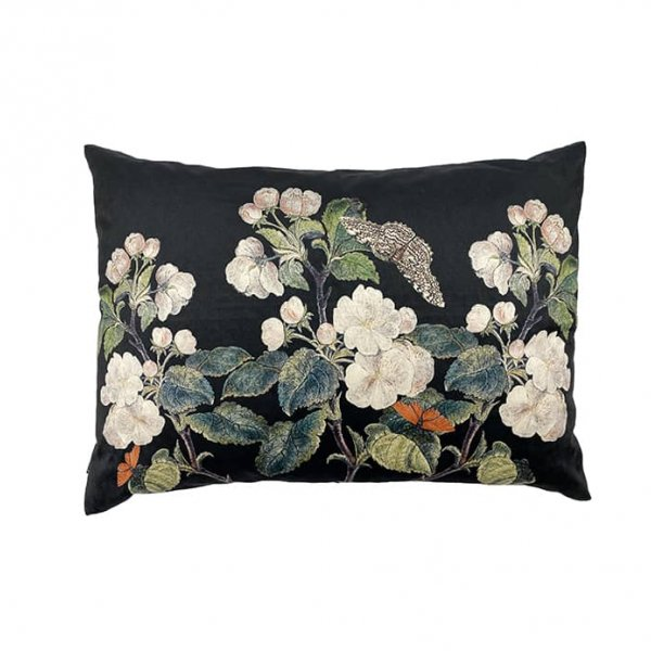 Apple Blossom Black Cushion, with Duck down filling (optional), by Vanilla Fly of Denmark
