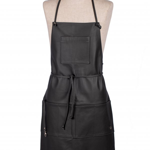 Apron 'Hobbyist' with multiple pockets, made from Upholstery Leather, and presented in Steel Grey. From Owen Barry