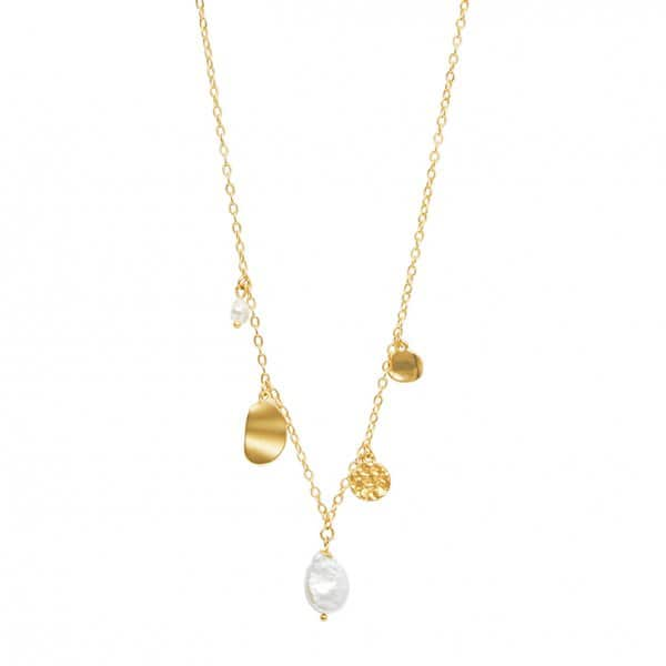 'Audrey' Chain Necklace, in 14 Carat Gold, with a Freshwater Pearl. By Dansk Copenhagen