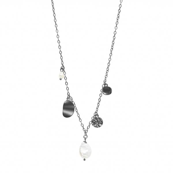 'Audrey' Chain Necklace, in Hematite, with a Freshwater Pearl. By Dansk Copenhagen