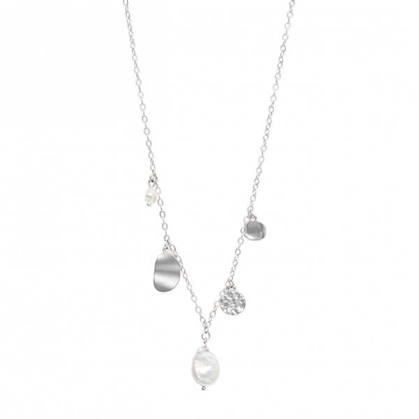 'Audrey' Chain Necklace, in Silver, with a Freshwater Pearl. By Dansk Copenhagen