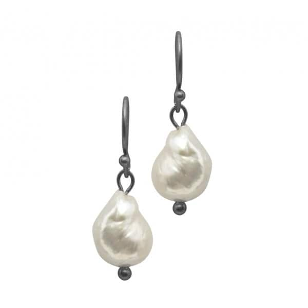 'Audrey' Earrings, with a Freshwater Pearl stone, finished in Hematite (colour). By Dansk Copenhagen