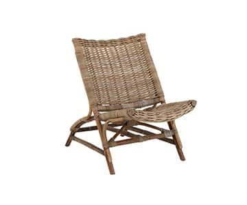'Beach' Lounge Chair, made from Rattan & Bamboo, and presented naturally. From J-Line by JOLIPA