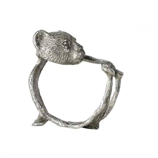 'Bear' Napkin Ring, made from Pewter, finished in Silver. By ON Interiör of Sweden