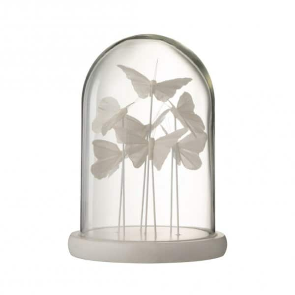 'Bell Jar Butterfly' ornament, beautifully crafted from Glass, and presented in White. From J-Line by JOLIPA