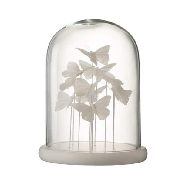 'Bell Jar Butterfly' ornament (Large), beautifully crafted from Glass, and presented in White. From J-Line by JOLIPA