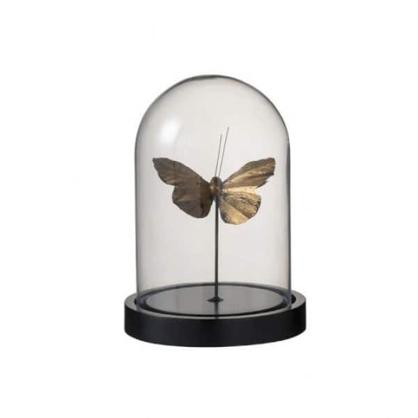 'Bell Jar Butterfly' ornament (Small), beautifully crafted from Glass, and presented in Black / Gold. From J-Line by JOLIPA