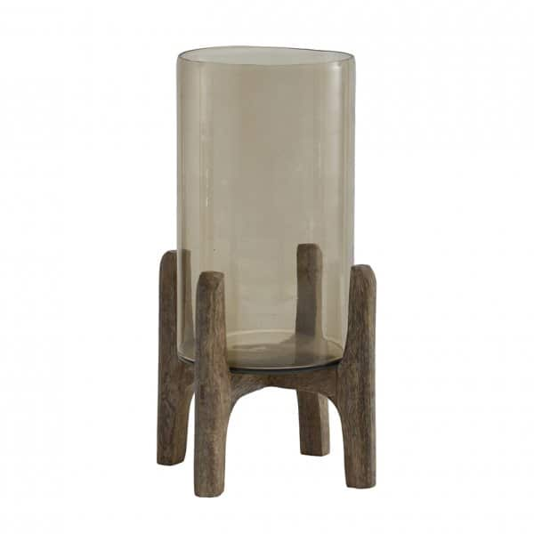 'Benson' Smoked Glass Candle Holder on a Wooden base. By PTMD Collection®