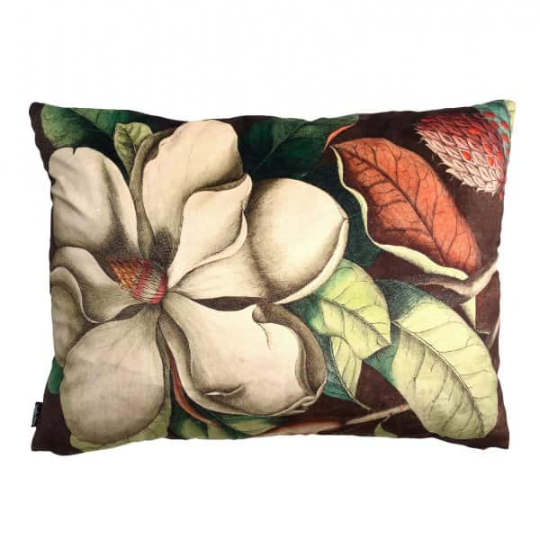 'Big White Magnolia' Velvet Cushion, with Duck down filling (optional), by Vanilla Fly of Denmark
