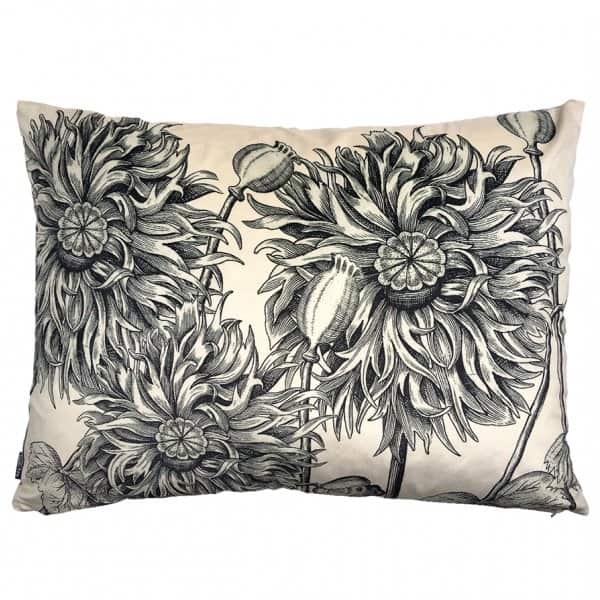 'Big White Poppy' Velvet Cushion, with Duck down filling (optional), by Vanilla Fly of Denmark