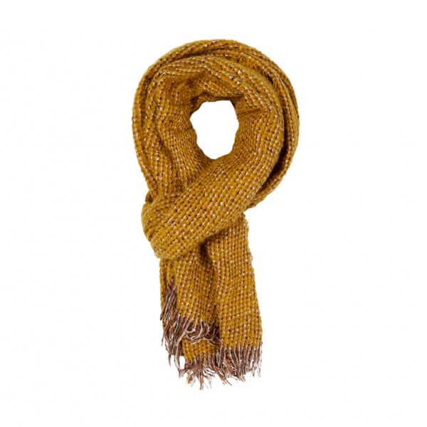 'Bjork Scarf Gold Spice', in Yellow, made from Acrylic. By Dansk Copenhagen