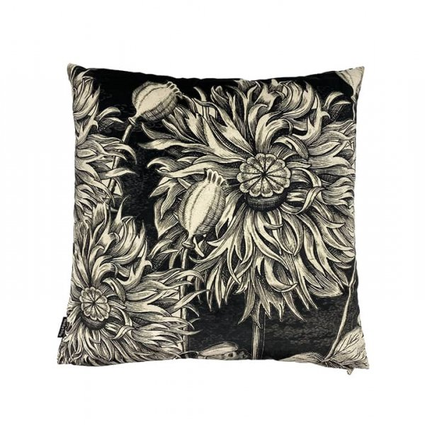'Black Poppy' Velvet Cushion, with Duck down filling (optional), by Vanilla Fly of Denmark
