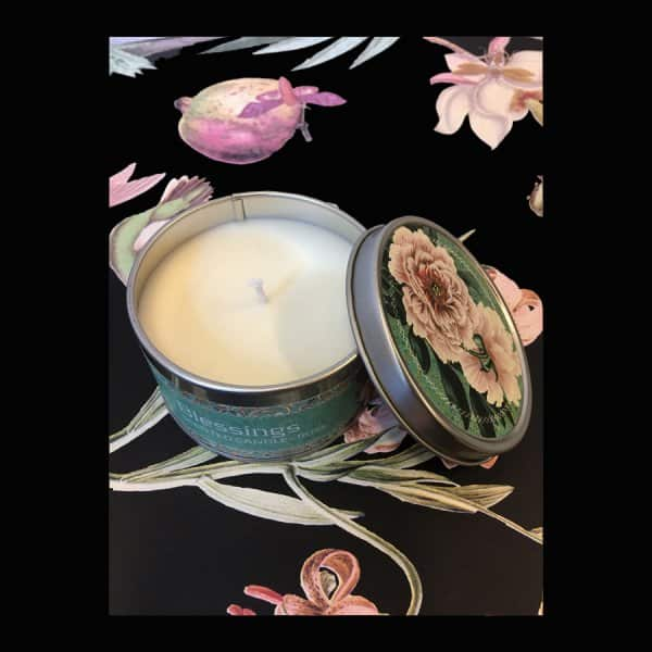 'Blessings' scented Candle, made from 100% Soy wax, beautifully presented in a tin. By Vanilla Fly of Denmark
