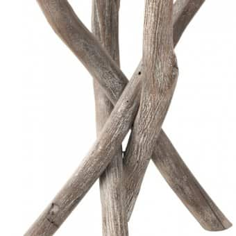 'Branch' Side Table, Wood & Glass, Grey / Greige (H:59.5xD:50cm)