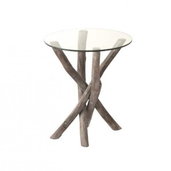'Branch Wood' Side Table, made from Wood with a round Glass table top, presented in Grey/Greige. From J-Line by JOLIPA