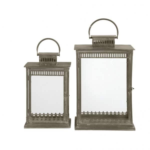 'Brescia' Lanterns (set of 2) for Candles, made from Metal, with hanging ring. By London Ornaments