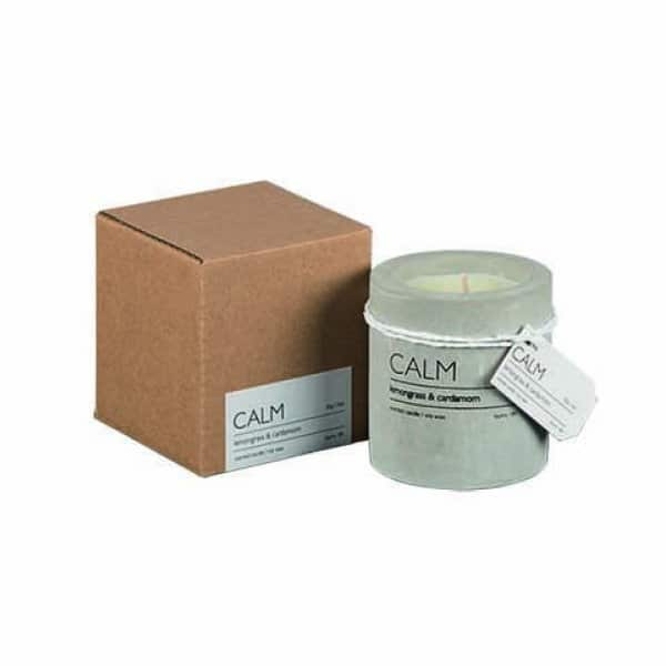 'CALM' Soy Wax Scented Candle, in a Concrete Pot, scented with Lemongrass & Cardamom. By Affari of Sweden.