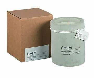 'CALM' Soy Wax Scented Candle, in a Concrete Pot, scented with Mint & Eucalyptus. By Affari of Sweden