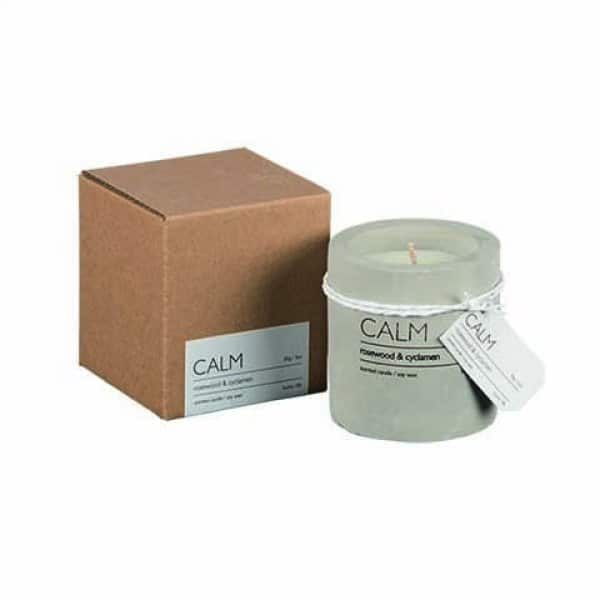 'CALM' Soy Wax Scented Candle, in a Concrete Pot, scented with Rosewood & Cyclamen. By Affari of Sweden.