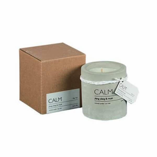 'CALM' Soy Wax Scented Candle, in a Concrete Pot, scented with Ylang Ylang & Musk. By Affari of Sweden.