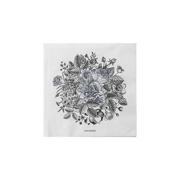 'Camia' Paper Napkin with a beautiful Floral Blue/Grey print. By Lene Bjerre of Denmark