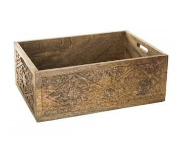 Carved brown 'Raft' wood storage box with handles. By PTMD Collection®