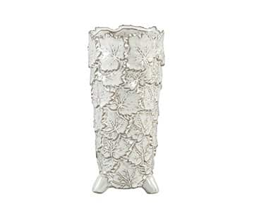 'Cavin' Glazed Ceramic Pot, Tall, in White with a Leaf pattern finish. By PTMD Collection®