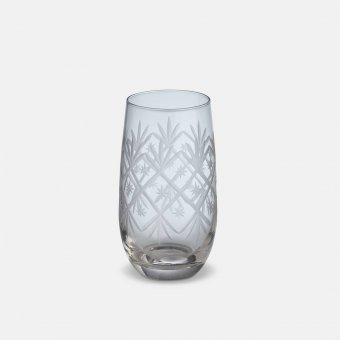 'Celine' High Ball Glass (S/4), Clear Glass, Patterned (H:13cmx7cm)