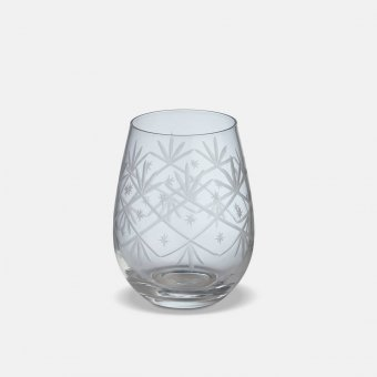 'Celine' Tumbler (S/4), Clear Glass, Patterned (H:12cmx9cm)