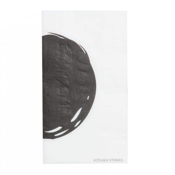 'Cerchio' Paper Napkin with a bold Black circular print. By ON Interior of Sweden.