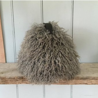 Chairman 'Yetti' doorstop, Leather Handle & base, 100% long haired Sheepskin, Pewter  (H:24cm x D:30cm)