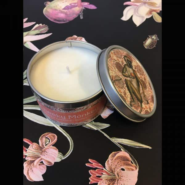 'Cheeky Monkey' scented Candle, made from 100% Soy wax, beautifully presented in a tin. By Vanilla Fly of Denmark