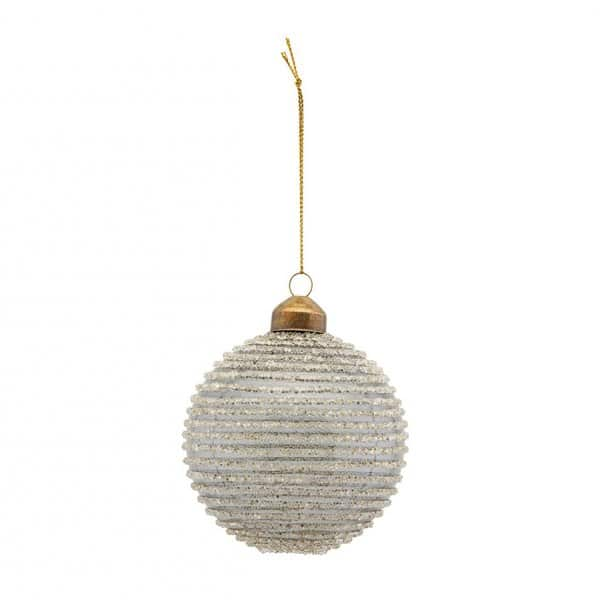 Christmas Bauble, made from Dark Grey Glass, and decorated with horizontal glittery stripes. By House Doctor of Denmark